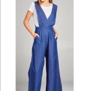 Wide leg chambray jumpsuit with pockets